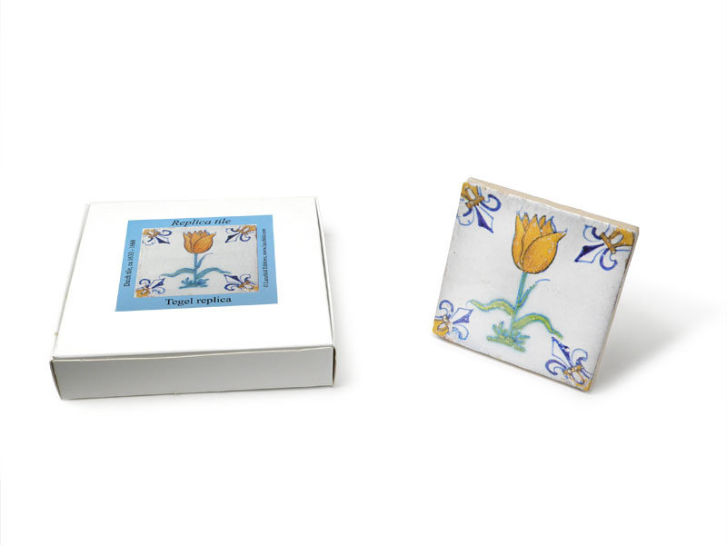 Replica tegel, Delfts blauw, Tulp Oranje/Goud