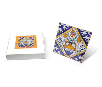 Replica tegel, Delfts blauw, Bloempot, Handgeschilderd