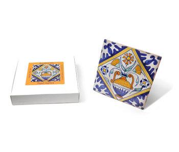 Réplique de carreaux, bleu de Delft, pot de fleurs, peint à la main