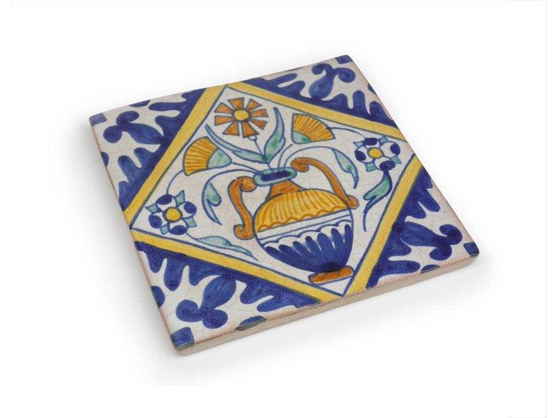 Replica tegel, Delfts blauw, Bloempot, 13 x 13 cm