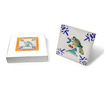 Replica tile, delft blue, Bird with berry, Handpainted