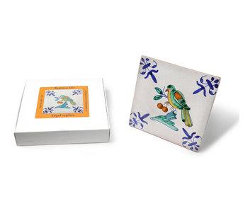 Replikfliese, Delfter Blau, Vogel mit Beere, handbemalt