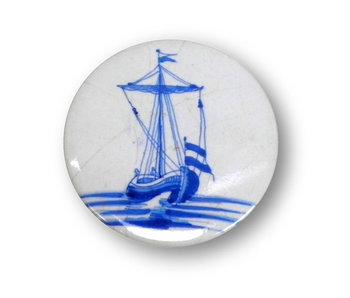 Spiegeltje, ,Ø 60 mm, Delfts Blauwe tegel Zeilboot
