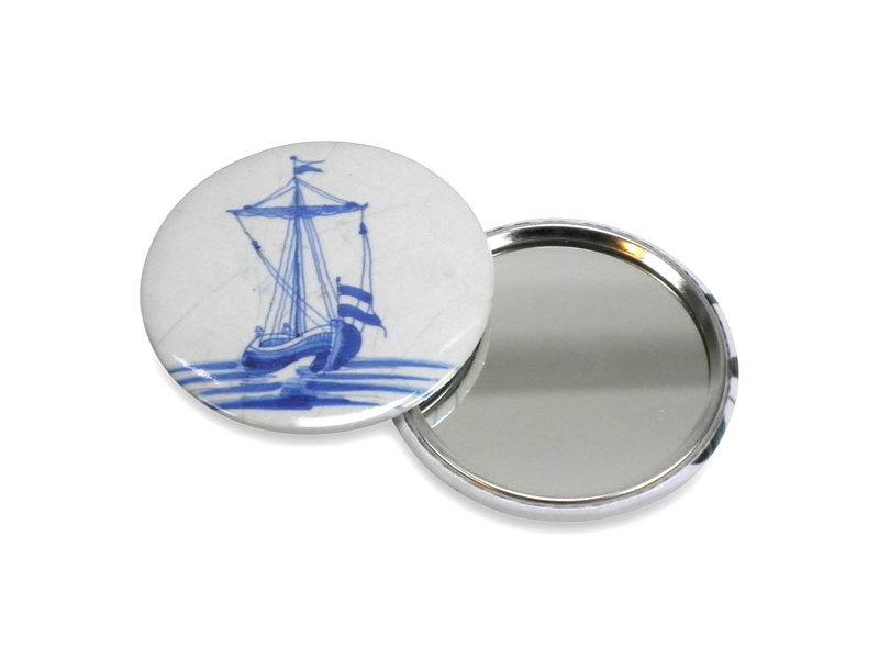 Taschenspiegel, Ø 60 mm, Delft Blue Fliese Segelboot
