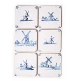 Dessous de verre, tuiles bleues de Delft Mills