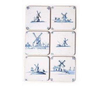 Coasters , Delft Blue Tiles - Windmills