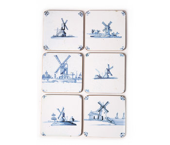 Untersetzer, Delfter blaue Fliesen Mühlen