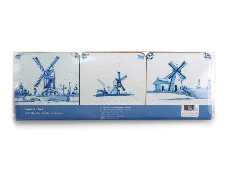 Posavasos, azulejos azules de Delft Mills