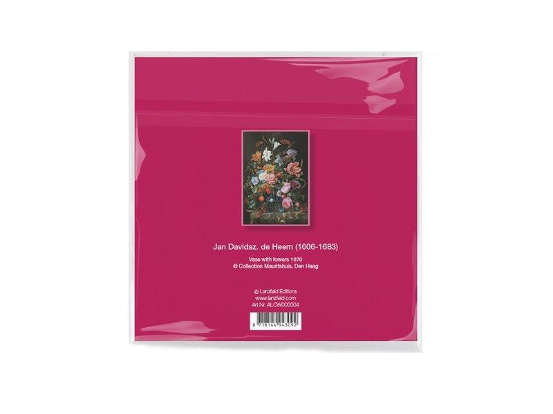 Linsentuch, 15x15 cm, Stillleben mit Blumen, De Heem