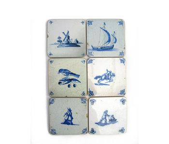 Dessous de verre, tuiles bleues de Delft Varia