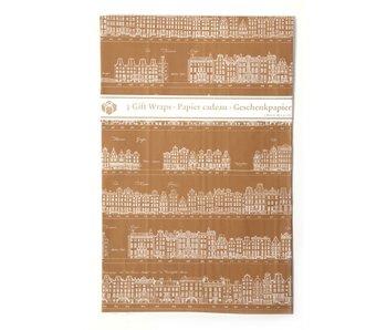 Papier cadeau, canaux d'Amsterdam Or