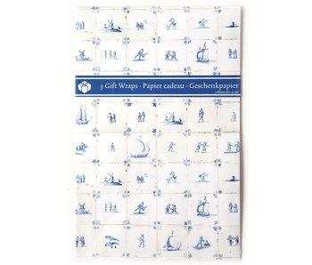 Papel de regalo, azulejos azules de Delft