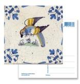 Carte postale, carrelage bleu Delft Parrot