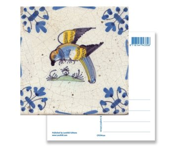Postcard, Delft Blue Tile with Parrot