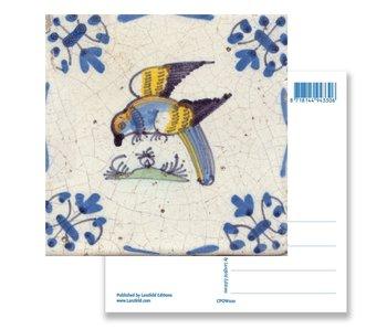 Postkarte, Delfter blauer Fliesenpapagei