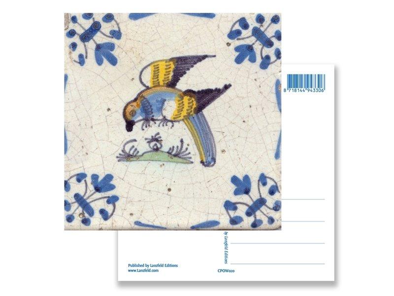 Postal, loro de azulejo azul de Delft