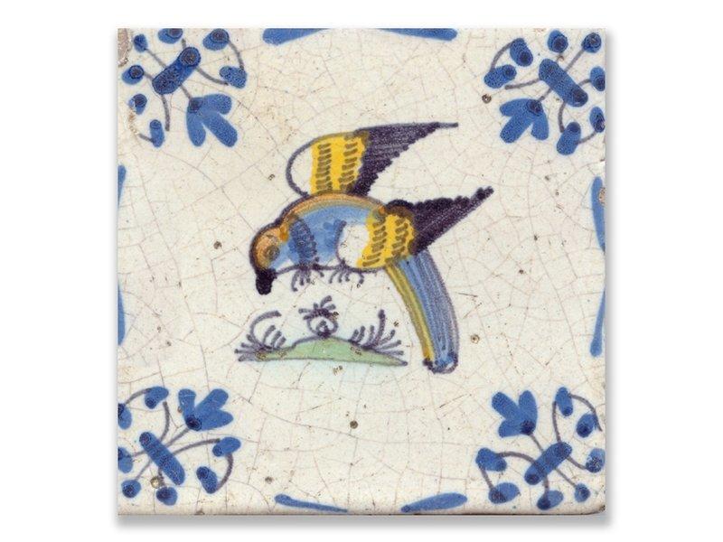 Ansichtkaart, Delfts blauwe tegel Papegaai