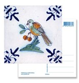 Postal, azulejo azul de Delft Pájaro con bayas