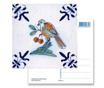 Carte postale, tuile bleue de Delft Oiseau aux fruits rouges