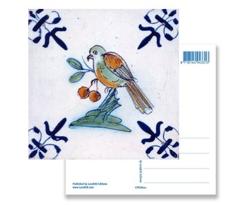 Postcard, Delft Blue Tile Bird eating berries