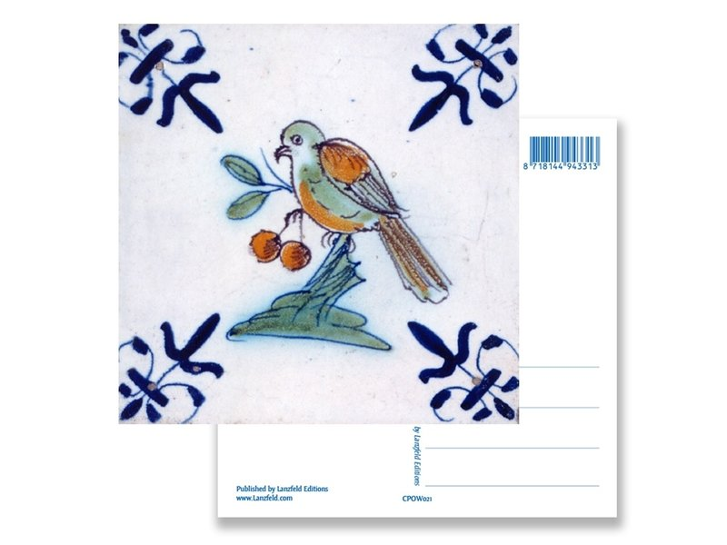 Postkarte, Delfter blauer Fliesenvogel mit Beeren