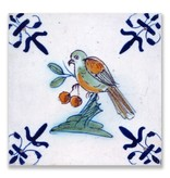 Postcard, Delft Blue Tile Bird eating berries