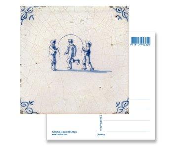 Ansichtkaart, Delfts blauwe tegel Kinderen touwtjespringen
