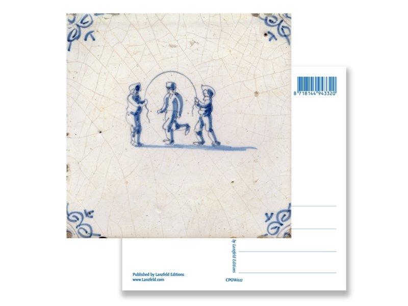 Postkarte, Delfter blaue Fliese Kinder Springseil
