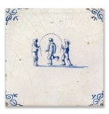 Postcard, Delft Blue Tile with Kids skipping rope
