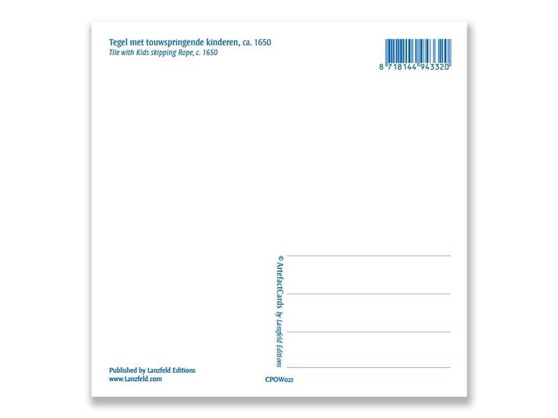 Carte postale, tuile bleue de Delft Enfants corde à sauter