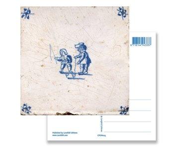 Postal, azulejo azul de Delft Peonza infantil