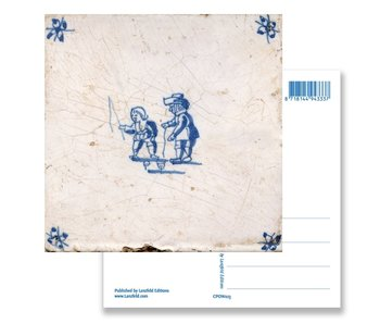 Postcard, Delft Blue Tile with Kids spinning Top