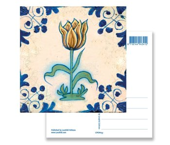 Postcard, Delft Blue Tile with Yellow/brown Tulip