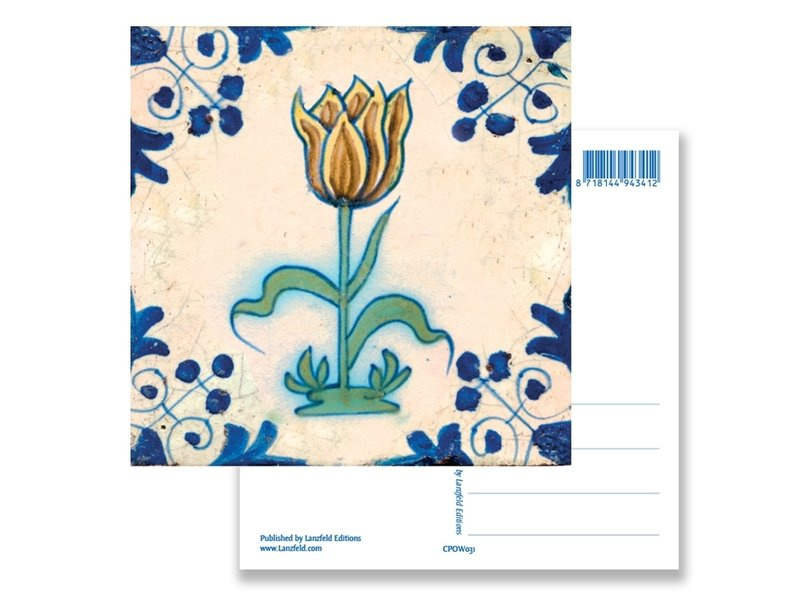 Carte postale, tuile bleue de Delft Jaune, tulipe brune