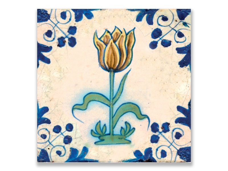 Ansichtkaart, Delfts blauwe tegel Geel,bruine tulp