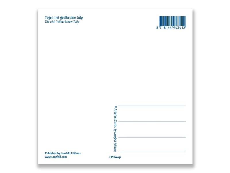 Postal, azulejo azul de Delft Tulipán amarillo, marrón