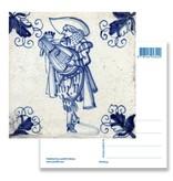 Postcard, Delft Blue Tile with Lutanist