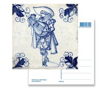 Carte postale, joueur de luth à carreaux bleus de Delft