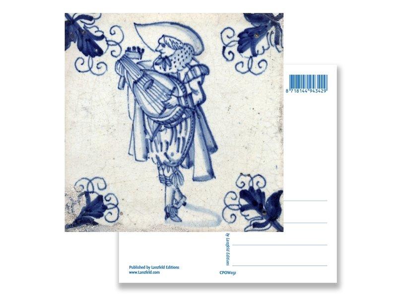 Ansichtkaart, Delfts blauwe tegel Luitspeler