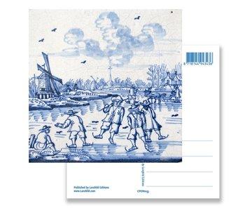 Carte postale, moulin à vent de Delft bleu et patineurs