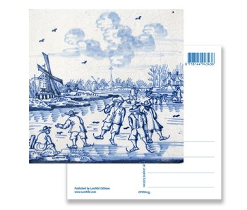 Postal, azulejo azul de Delft Molino de viento y patinadores