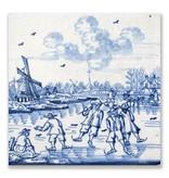 Ansichtkaart, Delfts blauwe tegel Molen en schaatsers