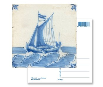 Postcard, Delft Blue Tile with Ship at Sea