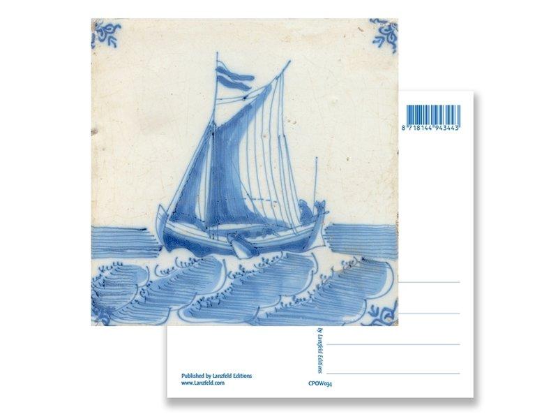 Ansichtkaart, Delfts blauwe tegel Scheepje