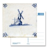 Postal, molino de azulejos azules de Delft