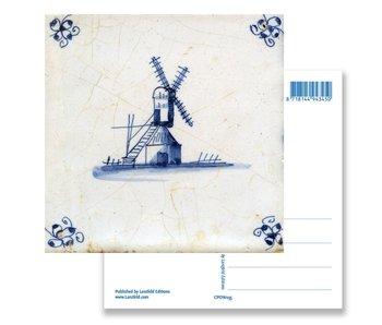 Carte postale, Moulin de tuiles bleues de Delft