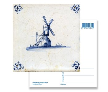 Postcard, Delft Blue tile with Windmill