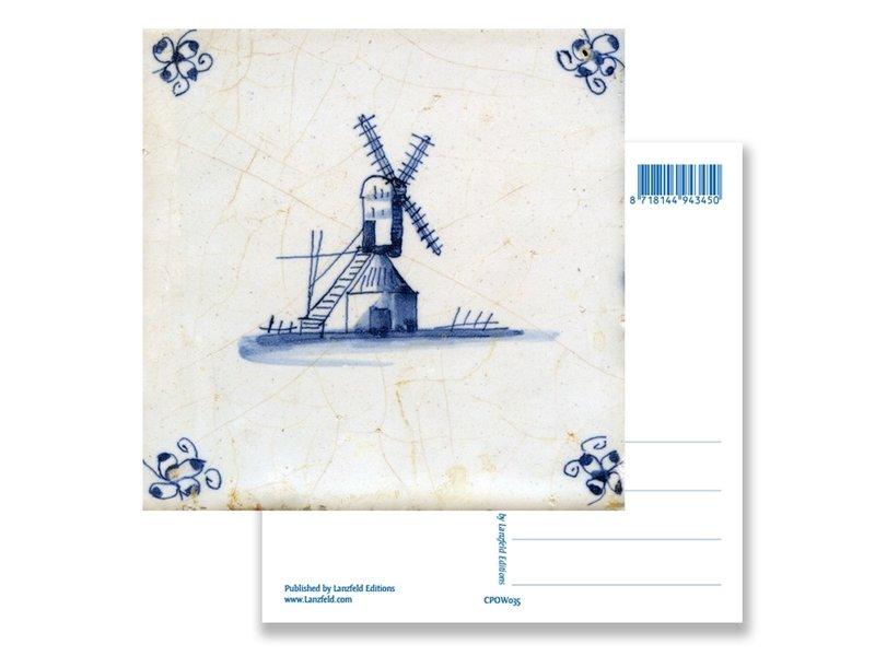 Ansichtkaart, Delfts blauwe tegel Molen
