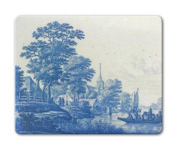 Mauspad, niederländische Flussszene, Delfter blaue Fliese, um 1670-1690