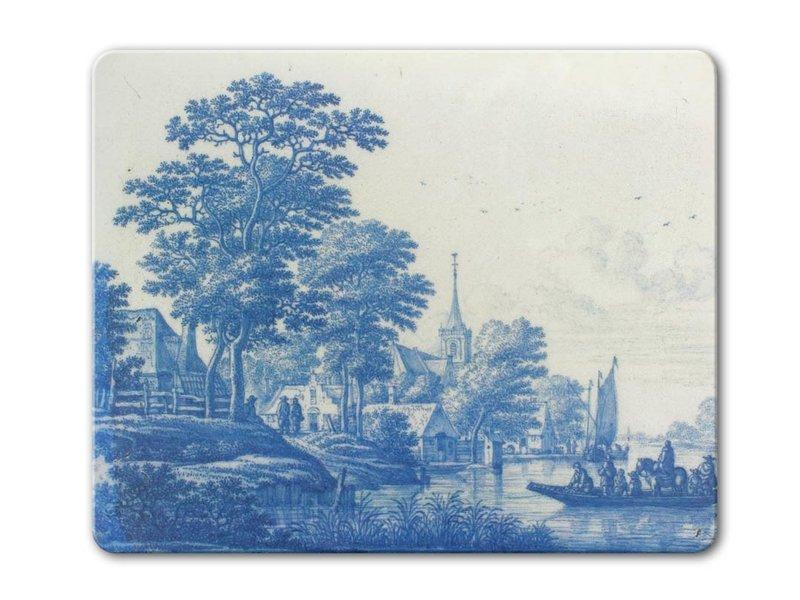 Muismat,  Hollands rivierenlandschap, Delfts blauwe tegel, c 1670-1690